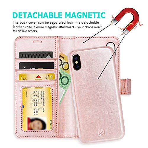 iPhone X Custodia ZUSLAB [Portafoglio Sottile] 2 in 1 Magnetica Removibile Cover sottile combinata con Portafoglio in Pelle, Custodia protettiva staccabile, Antiurto, Tasca Estraibile, Flip Folio case Oro rosa