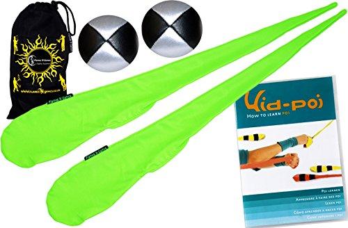 Flames N Games Pro Socken-Poi (UV Grun) Set + Kid Poi DVD (in Deutsch) Sock Poi (inkl. 2x Beanbags Bälle) & Reisetasche. Swinging Poi und Spinning Pois! Pois für Anfänger und Profis. Spinning-dvd-set