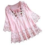 Zegeey Femme Tops Bohème Elegant t-Shirt Dentelle Couture T-Shirts, Tops et...