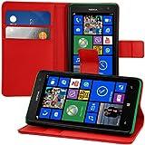 kwmobile Hülle für Nokia Lumia 625 - Wallet Case Handy Schutzhülle Kunstleder - Handycover Klapphülle mit Kartenfach und Ständer Rot