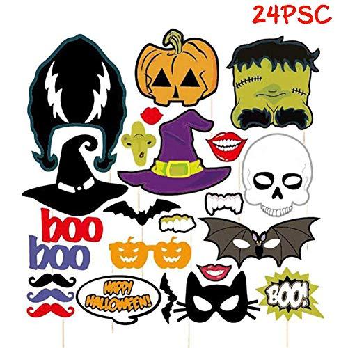 Starall Halloween Photo Booth Props Party Dekoration Maske Kürbis zarte Dress up Zubehör (24 Stück)