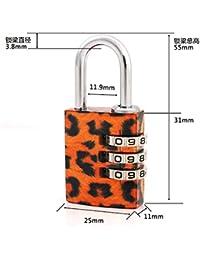 HOOM-Bloqueo de regalo de San Valentín Bolsas de regalos Gimnasio locker Candado de bloqueo de cobre,grano leopardo