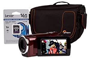 JVC GZ-E15 Camcorder Kit including 16GB Class 10 SD Memory Card and Lowepro Impulse 110 Case - Red