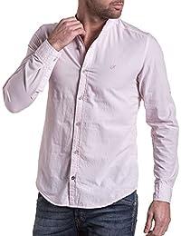 BLZ jeans - Chemise homme rose col mao
