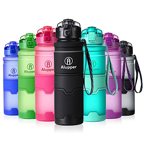Alupper Sport Trinkflasche-Tritan Wasserflasche-500ml&1000ml-BPA-frei-Ideale Sportflasche-Schneller Wasserdurchfluss,der Verschluss öffnet Sich mit einem 1-Click
