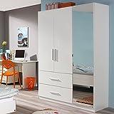 Jugendmöbel24.de Kleiderschrank Hochglanz weiß 3 Türen B 136 cm Schrank Drehtürenschrank Wäscheschrank Kinderzimmer Jugendzimmer Kinderzimmerschrank