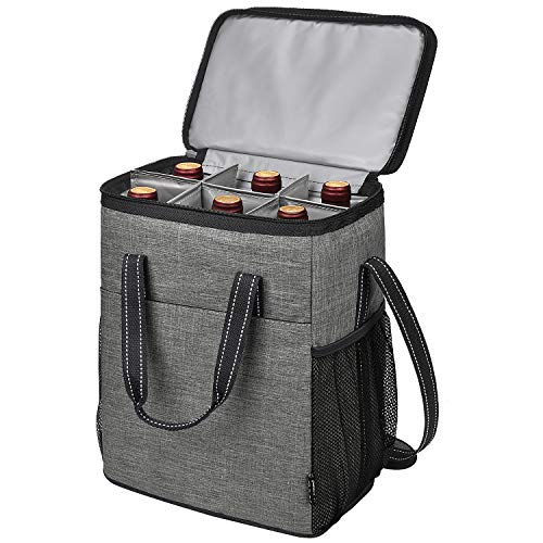Kato 6 Flaschen Weinträger, Isolierte auslaufsichere gepolsterte Weinkühltasche für Reisen, Camping und Picknick, Weinliebhaber, Grau