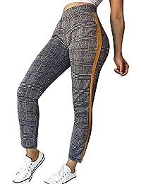 Frauen Mode Gitter Gestreifte Hosen Sport Lässig Hosen