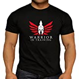Quality Mens Warrior In Training Workout Keep Fit T-Shirts Weightlifting Gym Large Print (Large)