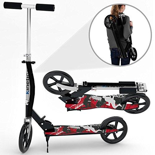 Kinetic Sports Scooter Cityroller Tretroller Klappbar 205 mm XXL Räder bis 100kg Schwarz