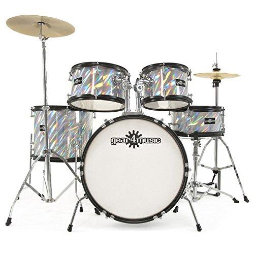 junior-5-piece-drum-kit-by-gear4music-laser-silver