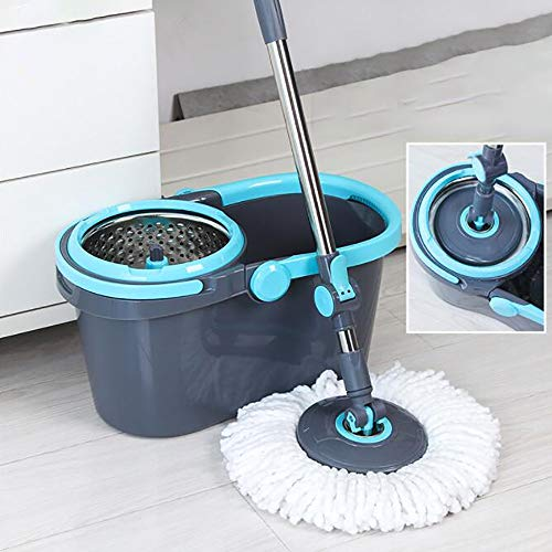 GAOJIN 360º Set de Limpieza para el hogar, Cubo con Pedal y fregona de Microfibra,Palo telescópico giratoria sin Pedal, Doble Sistema de Centrifugado, 4 mopas