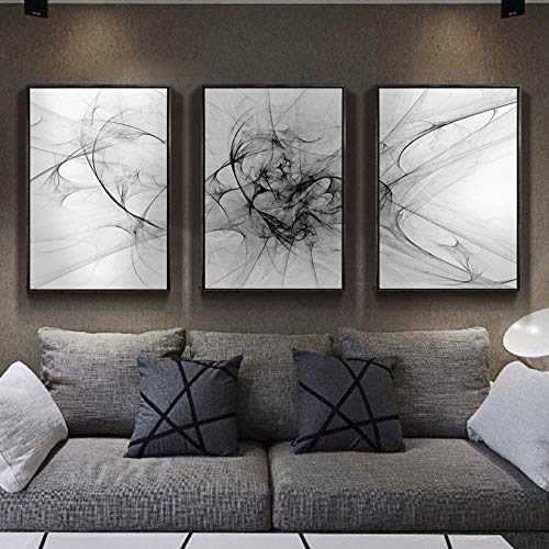 ZSHSCL Impresión En Lienzo Pintura 3 Piezas Línea Abstracta Minimalista Nórdica Pinturas En Lienzo Carteles En Blanco Y Negro Impresiones Arte De La Pared Imágenes Sala De Estar Decoración del Hot