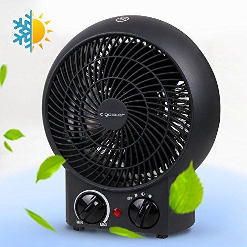 Aigostar Airwin Black 33IEL-Mini Heizlüfter Safe Heater Heizgerät, warm und kalt Dual-Funktion, 2000 Watt mit Überhitzungsschutz. Exklusives Design.