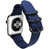 Gemony Apple Correa de Reloj 38mm 42mm Hombres Mujeres Nylon Reemplazo Correa de muñeca Resistente NATO Loop Buckle Compatible Apple iWatch Series 4 3 2 1(WBA-013F42, Blue, 42mm)