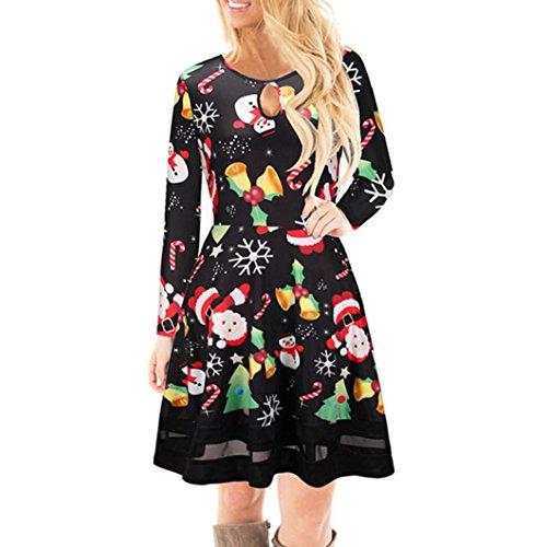 37c6639880 KOLY Donne Gonne di vestito dal merletto di Natale Sweatshirt Pullover  Casual T-Shirts Vestito stampato a maniche lunghe di Natale Stampa  Christmas ...