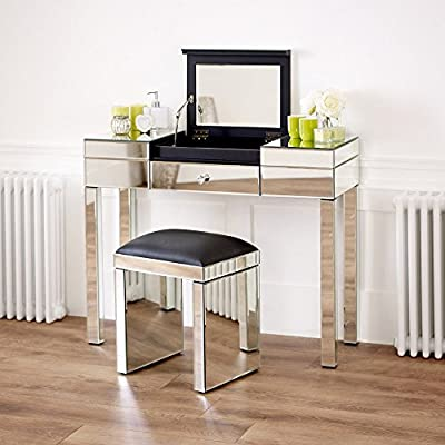 Venetian mirrored Compartment Dressing Table Set with Black Stool