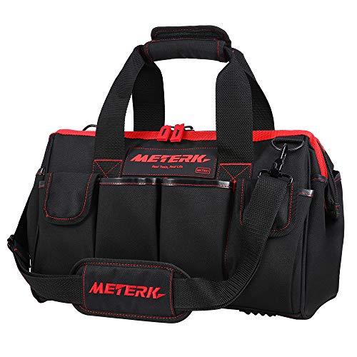 Werkzeugtasche & Werkzeugbeutel, Meterk Transporttasche, Robuster 600D Polyestergewebe und Kratzfestes PU-Lederfutter, (40 x 25 x 22cm, komfortabler stabiler Griff und Verstellbarer Schultergurt)