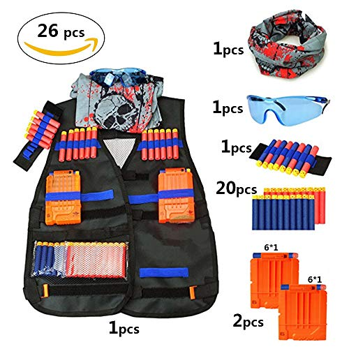 Huatuo 26 Pack Kids Kit Giubbotto tattico per Pistole Nerf Serie N-Strike Elite