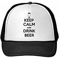 DIYthinker Cita Mantener la Calma y Bebida Taza de Cerveza Divertida del patrón Ilustración Gorros Gorra de béisbol del Casquillo del Sombrero de Malla de Nylon Ajustable Negro Adulto