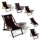 Printalio VIP - Liegestuhl Bedruckt Balkon Garten Sonnenliege Relax Holz Terrasse | mit Armlehne, Dunkelbraun