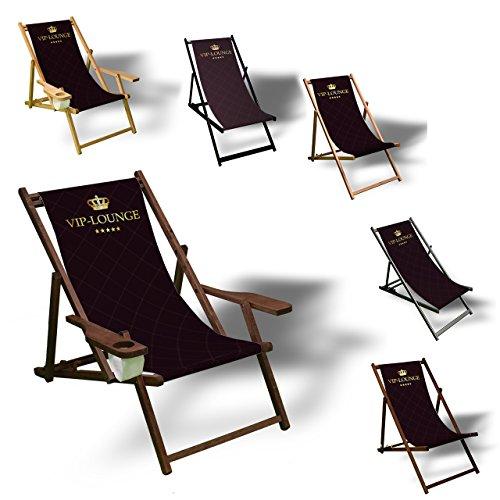 Printalio VIP - Liegestuhl Bedruckt Balkon Garten Sonnenliege Relax Holz Terrasse | mit Armlehne,...
