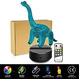 happy event Brachiosaurus 3D Nachtlicht | Tisch Schreibtischlampe | 7 Farben 3D optische Täuschung Lichter (mit Fernbedienung)