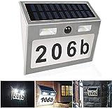 KEEDA Numero Civico Esterno Energia Solare, Numeri di Casa Lampada da parete con Sensore di Movimento, Lampada LED Solare con lettere(a-f) e Numeri(0-9)