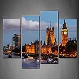 4 Panel Grande Ben Y Westminster Puente Noche Londres Unido Reino Barco LigeroPintura de la pintura de la pared La impresión de la imagen en la lona Arquitectura Fotos de la Obra para la Decoración Moderna del Ministerio del Interior