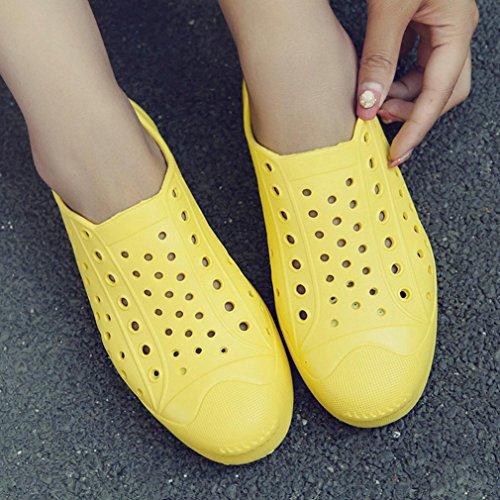Hommes Femmes Unisexe Pluies Respirante Couple Classique Pêcheurs Chaussures Bas, QinMM Sandale Sans Glissement Chaussures Plat Jaune