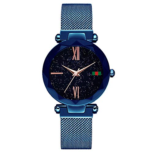 Damen Uhren, L'ananas Frauen Sternenklarer Himmel Wählen Diamant schneiden Mesh Riemen Armband Armbanduhr Women Watches (Z-Blau-B)