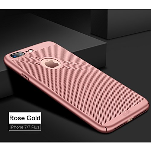 Mobiltelefonhülle - MOFi für iPhone 7 Plus Honeycomb Texture Breathable PC Shockproof schützende rückseitige Abdeckungs-Fall ( Farbe : Rot ) Rotgold