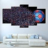 Immagini Moderne del Salone della Tela di Canapa Stampate HD 5 Pannelli di Calcio Colorati Decorazioni per la casa con Poster modulari di Arte della Parete