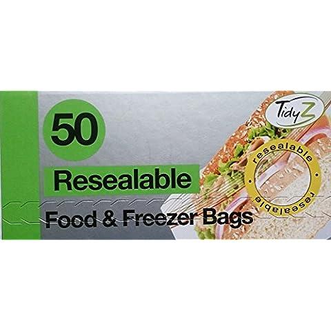 100Bolsas de comida y Congelador resellable/2paquetes de 50Imán gratis