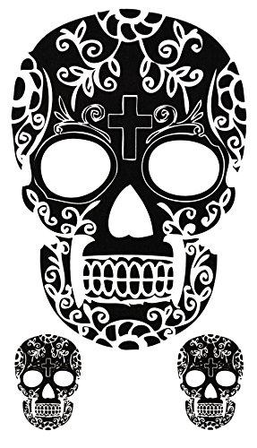 Temporäres Arm Fake Totenkopf Tattoo für Herren und Frauen mit Motiv Entfernbare Klebe Henna Tattoos Abziehtattoo Folie Aufkleber (Armee Mann Toten Kostüm)