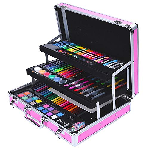58-teiliges Kunstset für Kinder Farbstifte Fall Zeichnung Zubehör Werkzeuge Kit für Jugendliche Kinder Geschenke für Kinder (Color : Pink, Size : Free Size) ()