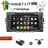 """Android 7.1 Quad-Core WiFi modelo 7 """"Full pantalla táctil Ford Focus coche DVD reproductor de CD GPS 2 DIN estéreo GPS navegación libre cámara, Canbus, color Negro"""