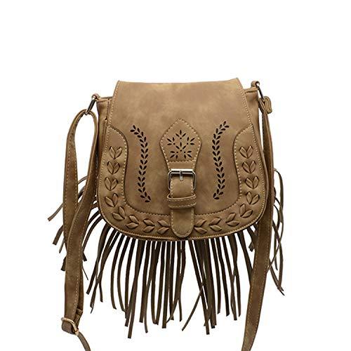 NOTAG Sattel Umhängetasche, PU Leder Vintage Fransen Quaste Hobo Schultertasche für Reise (Khaki) -