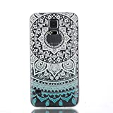 Aeeque® Ultra Thin Case for Samsung Galaxy S5 / S5 Neo, Beautiful Blue White Flower Pattern and Transparent Crystal Clear Flexible Soft Gel TPU Back [Drop Protection] Cover Shell