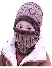 ECHERY Unisex Bambini Slouchy Beanie Caldo dello Sci della Neve di Cappello  Sciarpa Set Ragazzi Ragazze e6361c528a12
