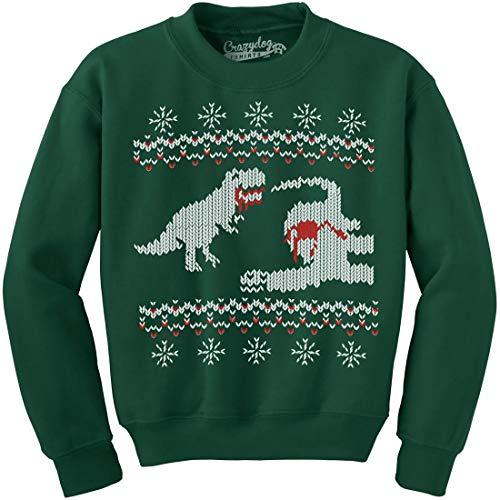 Crazy Dog Tshirts - Dinosaur Snack Funny T-Rex Dinos Ugly Christmas Unisex Crew Neck Sweatshirt (Forest Green) - XXL - Herren - XXL -