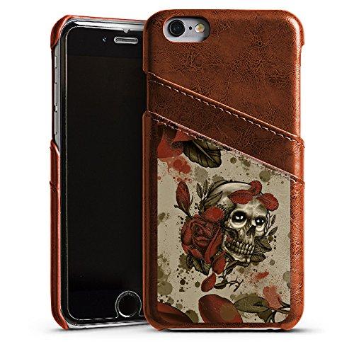 Apple iPhone 5 Housse étui coque protection Tatouage Rock n Roll Tête de mort Étui en cuir marron