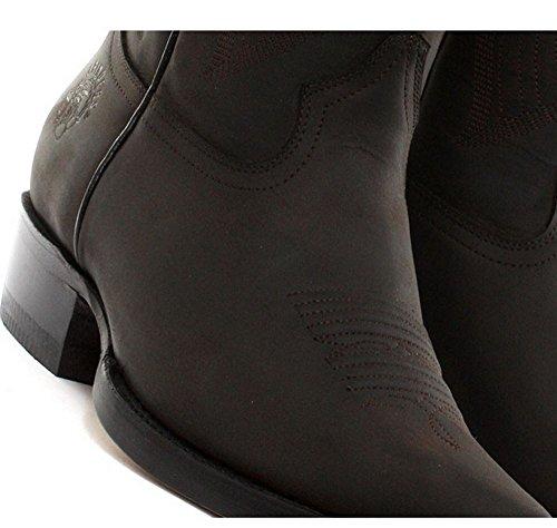 Bottes homme style Lousiana cowboy western cuir véritable noir ou marron bouts pointus Marron