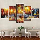 DYCHJD Leinwand Malerei Wohnkultur Wandkunst Fünf Stücke Im Regen Nightscape Bilder Abstrakte Farbe Baum Poster 30x40 30x60 30x80 cm