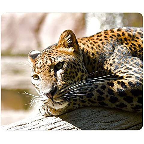 Lazzy Leopard personalizzata rettangolo mousepad, Gaming Mouse Pad Tappetino per Mouse