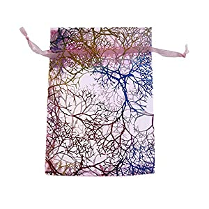 SumDirect Organza-Schmuckbeutel mit Kordelzug, 8,9 x 11,9 cm, Korallinen-Muster, 100 Stück