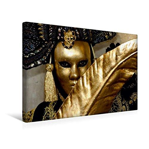 Calvendo Premium Textil-Leinwand 45 x 30 cm Quer-Format Goldmaske mit Feder | Wandbild, HD-Bild auf Keilrahmen, Fertigbild auf Hochwertigem Vlies, Leinwanddruck von Diane Jordan Kunst Kunst
