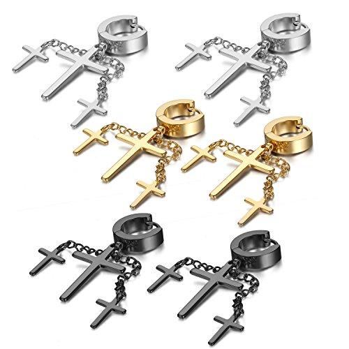 Oidea 3 Paare(6PCS) Damen Herren Ohrringe, 3 Kreuz Kruzifix mit Ohrkette Edelstahl Ohrhänger Creolen Ohrstecker Ohrschmuck, Gold Silber Schwarz