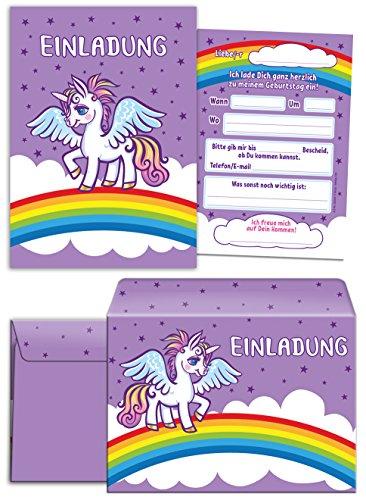 12 Einladungskarten zum Kindergeburtstag lila Einhorn incl. 12 Umschläge / Pferd / Unicorn / Märchen-Party / schöne und bunte Einladungen für Mädchen (12 Karten + 12 Umschläge)