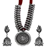 Kaizer Jewelry Antique German Silver Tribal Cotton Thread Jewelry Necklace Earring Set for Women & Girls.(Valentine Gift Special). (Red)